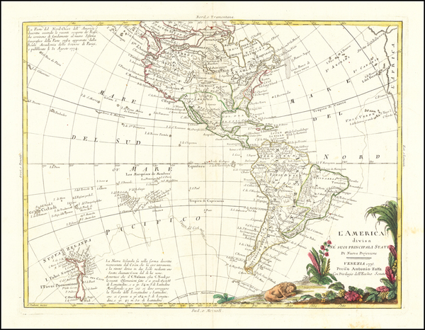 94-Pacific Ocean, Pacific, Oceania, New Zealand and America Map By Antonio Zatta