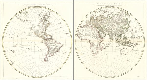 38-World, Eastern Hemisphere and Western Hemisphere Map By Jean-Baptiste Bourguignon d'Anville