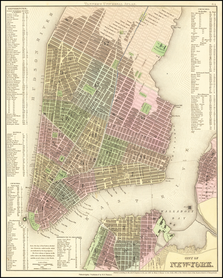 88-New York City Map By Henry Schenk Tanner