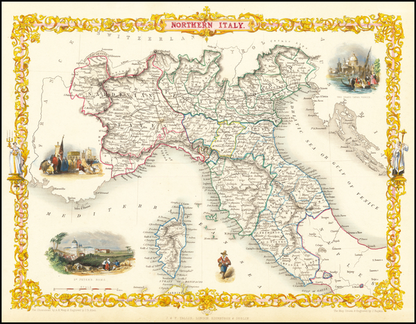 4-Northern Italy Map By John Tallis