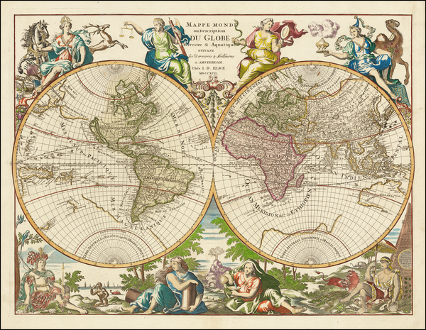 97-World and California as an Island Map By Jan Barend Elwe