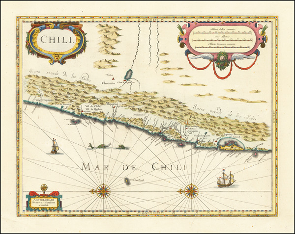 46-Chile Map By Henricus Hondius