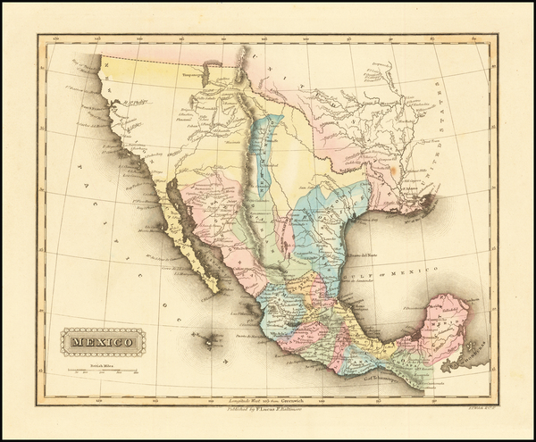 60-Texas, Southwest, Rocky Mountains, Mexico and California Map By Fielding Lucas Jr.