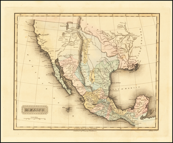 48-Texas, Southwest, Rocky Mountains, Mexico and California Map By Fielding Lucas Jr.