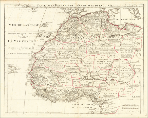 44-North Africa and West Africa Map By Guillaume De L'Isle