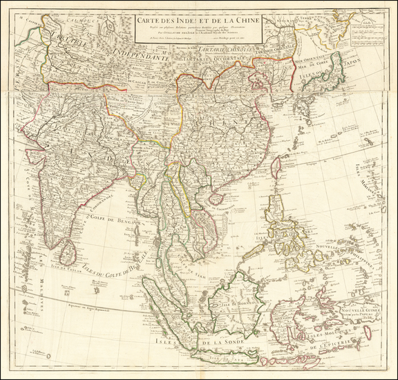 57-China, India, Southeast Asia, Philippines and Indonesia Map By Guillaume De L'Isle