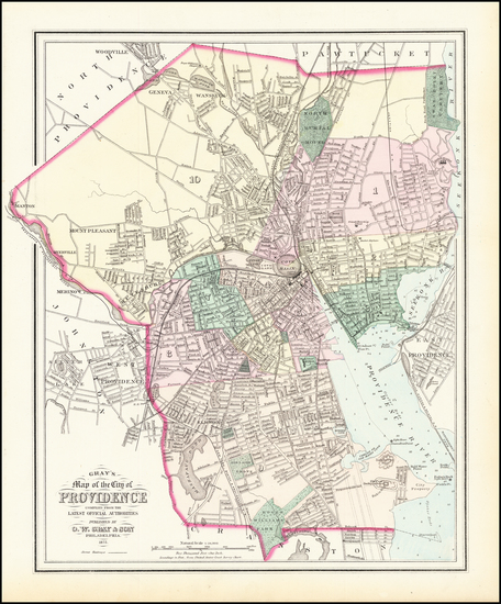 45-Rhode Island Map By O.W. Gray