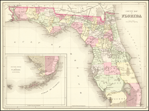 7-Florida Map By Samuel Augustus Mitchell Jr.