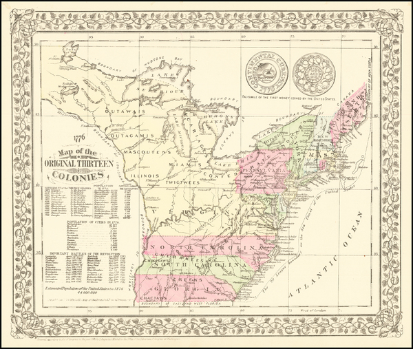 68-United States Map By Samuel Augustus Mitchell Jr.