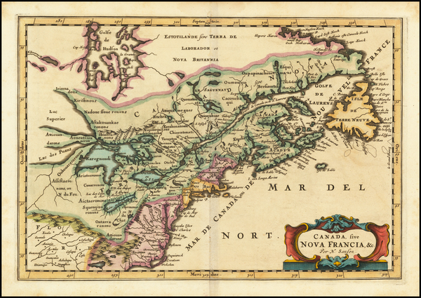 33-New England, Midwest, Canada and Eastern Canada Map By Nicolas Sanson / Adam Friedrich Zurner