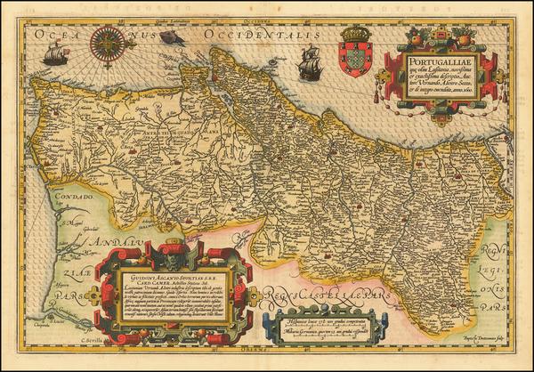 54-Portugal Map By Jodocus Hondius