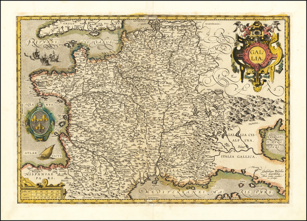 66-France Map By Abraham Ortelius / Guillaume Postel