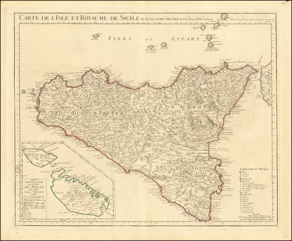 41-Malta and Sicily Map By Guillaume De L'Isle