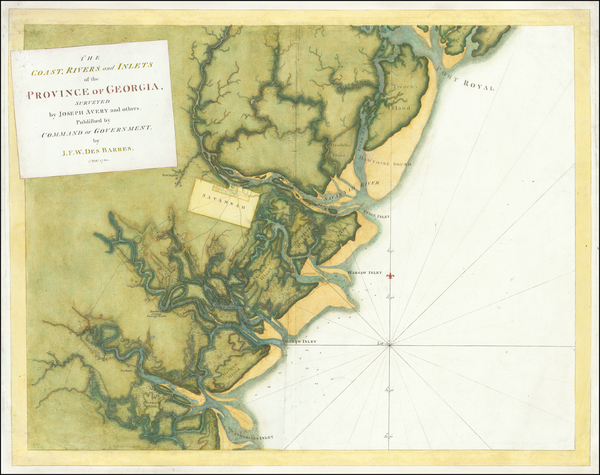 76-Georgia, South Carolina and American Revolution Map By Joseph Frederick Wallet Des Barres