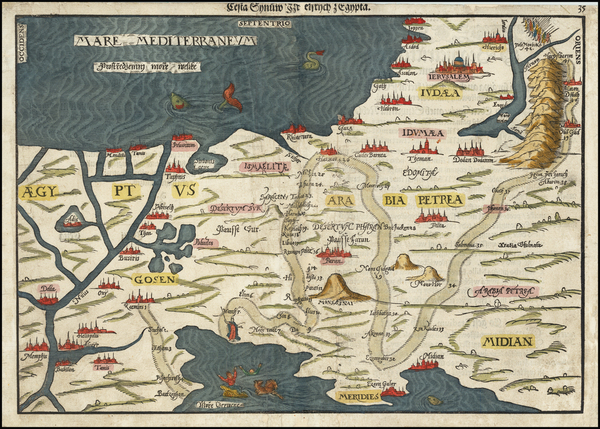 69-Holy Land and Egypt Map By Heinrich Bunting