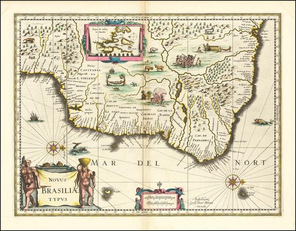 98-Brazil Map By Willem Janszoon Blaeu