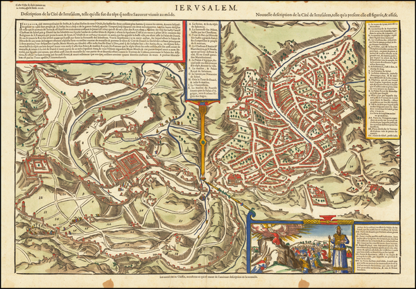 75-Holy Land and Jerusalem Map By Francois De Belleforest