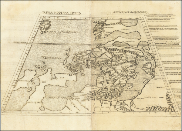84-British Isles, Germany, Poland, Scandinavia, Iceland and Denmark Map By Claudius Ptolemy