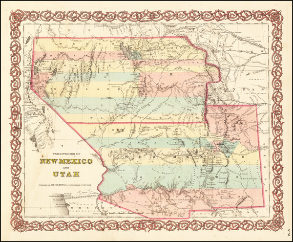 95-Arizona, Colorado, Utah, Nevada, New Mexico, Colorado and Utah Map By Joseph Hutchins Colton