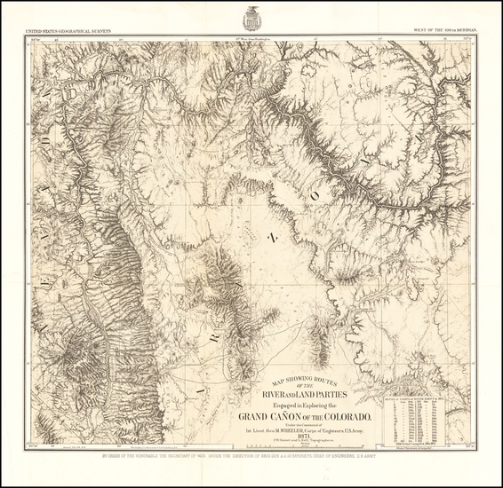 39-Southwest, Arizona and Nevada Map By George M. Wheeler