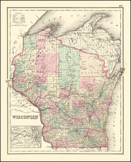 23-Wisconsin Map By O.W. Gray