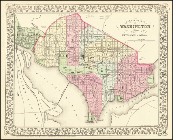 14-Washington, D.C. Map By Samuel Augustus Mitchell Jr.