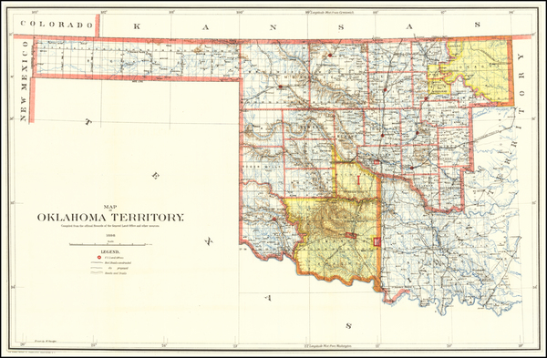 78-Oklahoma & Indian Territory Map By U.S. General Land Office