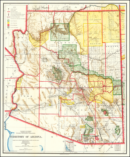 45-Arizona Map By General Land Office