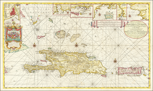 5-Caribbean, Hispaniola, Puerto Rico and Bahamas Map By Johannes II Van Keulen
