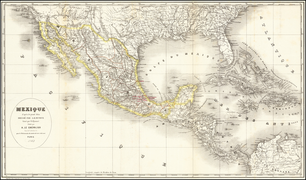 36-Texas, Arizona and Mexico Map By Armand Le Cheavlier