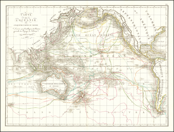 62-Pacific Ocean, Pacific, Oceania, Hawaii and Other Pacific Islands Map By Pierre Antoine Tardieu