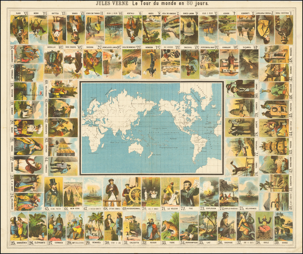 88-World and Pictorial Maps Map By Anonymous / Jules Verne