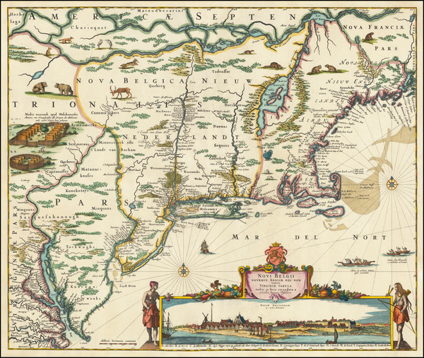 97-New England, New York State, Mid-Atlantic and Canada Map By Nicolaes Visscher I