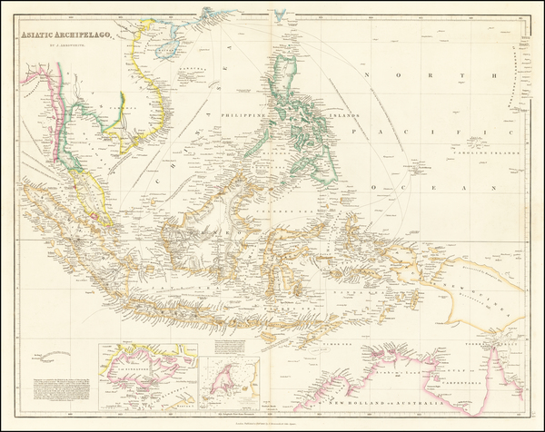 57-Southeast Asia, Philippines, Singapore, Indonesia and Malaysia Map By John Arrowsmith
