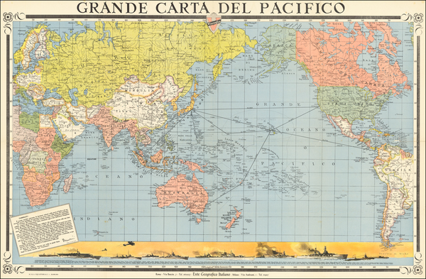 5-World, Pacific Ocean, Pacific and World War II Map By Ente Geografico Italiano