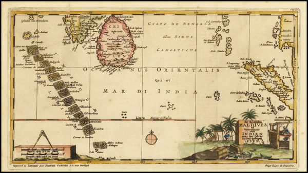94-India, Indonesia, Malaysia and Other Islands Map By Pieter van der Aa