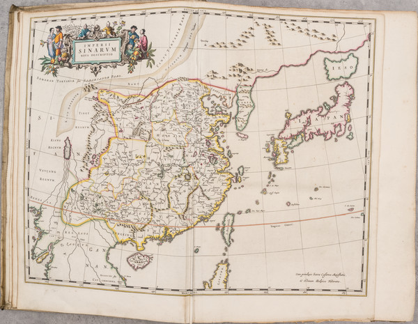 73-China, Japan, Korea and Atlases Map By Johannes Blaeu / Martinus Martini
