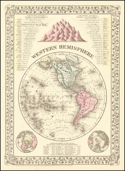 84-Western Hemisphere Map By Samuel Augustus Mitchell Jr.