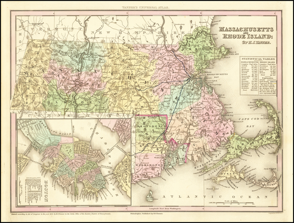 90-Massachusetts, Rhode Island and Boston Map By Henry Schenk Tanner