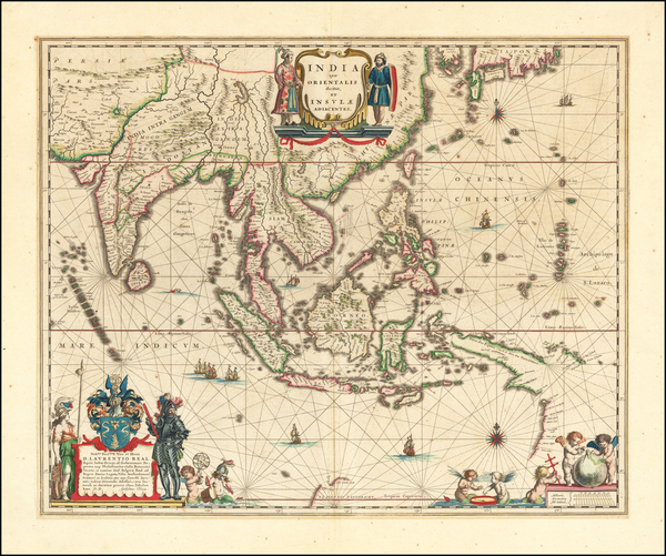 89-China, India, Southeast Asia, Philippines, Indonesia and Australia Map By Willem Janszoon Blaeu