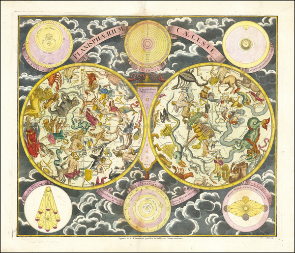 3-Curiosities and Celestial Maps Map By Georg Christoph Eimmart