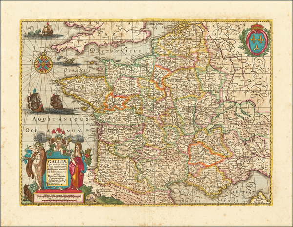 91-France Map By Henricus Hondius