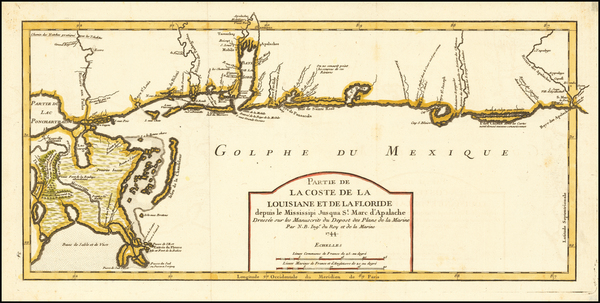 74-South and Louisiana Map By Jacques Nicolas Bellin
