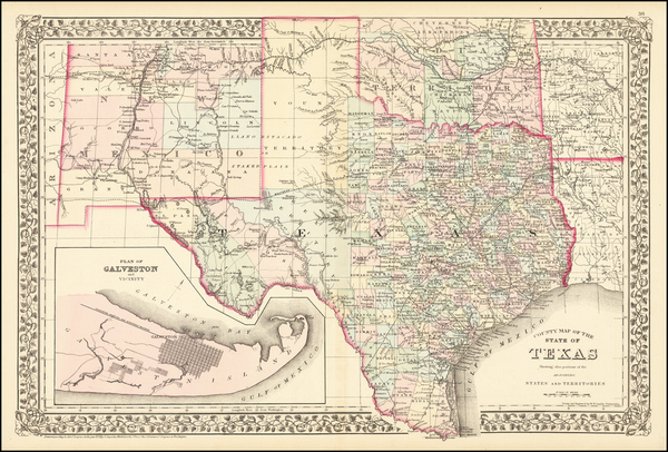 12-Texas, Plains, Oklahoma & Indian Territory, Southwest and New Mexico Map By Samuel Augustus