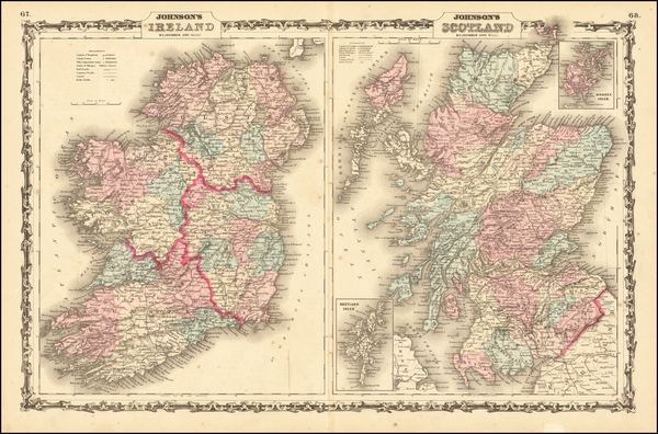1-Scotland and Ireland Map By Alvin Jewett Johnson  &  Benjamin P Ward