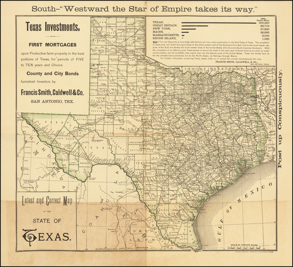 8-Texas Map By Francis Smith, Caldwell & Co.
