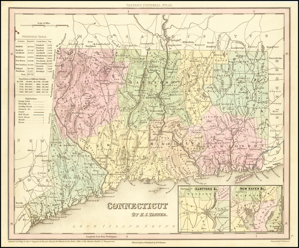 58-Connecticut Map By Henry Schenk Tanner