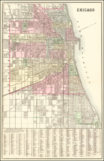 96-Illinois and Chicago Map By Samuel Augustus Mitchell Jr.