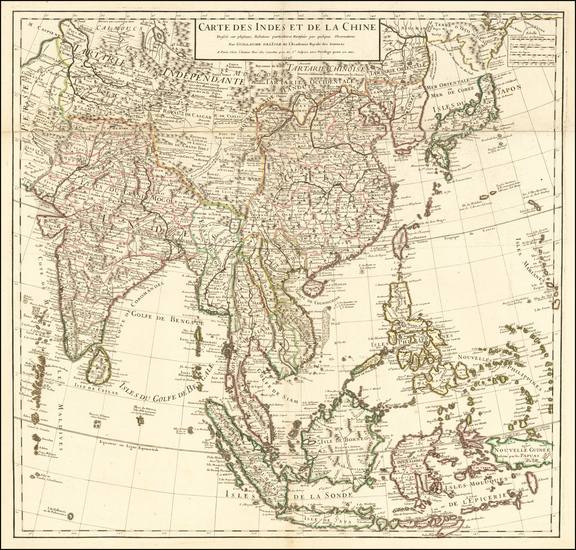 34-Asia, China, India, Southeast Asia, Philippines and Indonesia Map By Guillaume De L'Isle