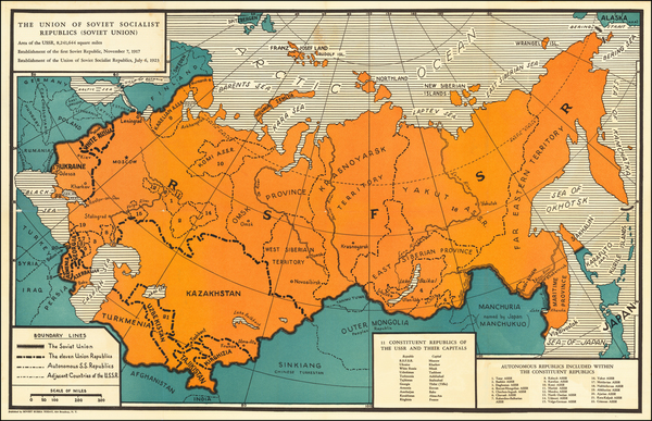 93-Russia and Russia in Asia Map By Soviet Russia Today